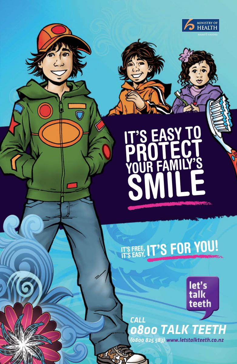 "IMage of the cover of the booklet ""It's easy to protect your family's smile"""