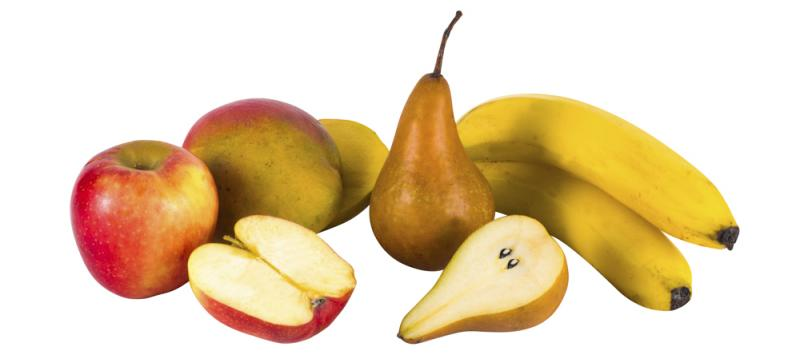 Fruit (apple, mango, pear, banana)