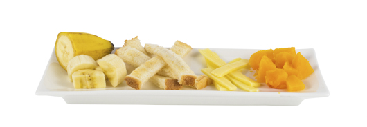 Platter of banana pieces, toast fingers, cheese strips, soft cooked pumpkin pieces