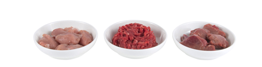 Bowls of raw meat