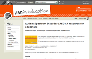 Screenshot of TKI website page on ASD resource for educators