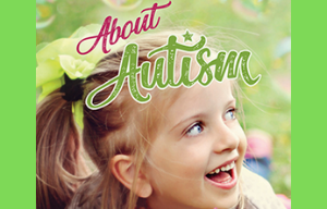 Cover of booklet 'About autism' with a photo of a young smiling girl