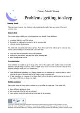 Thumbnail of  'Problems getting to sleep' handout