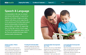 Screenshot of KidsHealth website - speech and language section