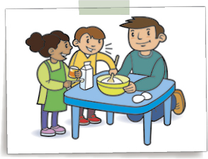 Graphic of a father kneeling at a table with 2 children - they are making something in a mixing bowl