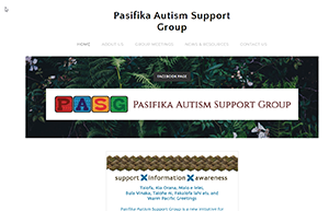 Screenshot of Pasifika Autism Support Group website
