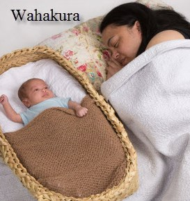 Image showing mother asleep in bed with her baby. The baby is in his wakakura beside her.