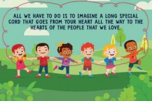 A page from an online book - animated children standing in a line and holding on to a cord