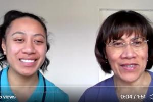 Screenshot of Twitter video of two women speaking to camera