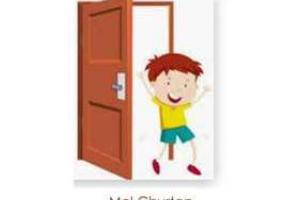 Graphic of child jumping through a door